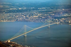 eab6d12f480 De Akashi Kaikyō Bridge in Japan is de grootste hangbrug ter wereld.