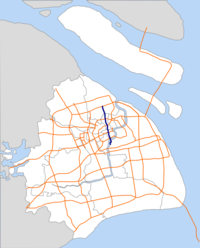 Shanghai South-North Elevated Road map.png