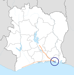 Autoroute Abidjan - Grand Bassam map.png